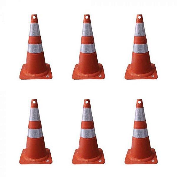 Cone de Sinalização Refletivo Flexível 50 cm Laranja e Branco