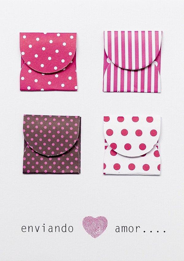 Cartão envelope rosa