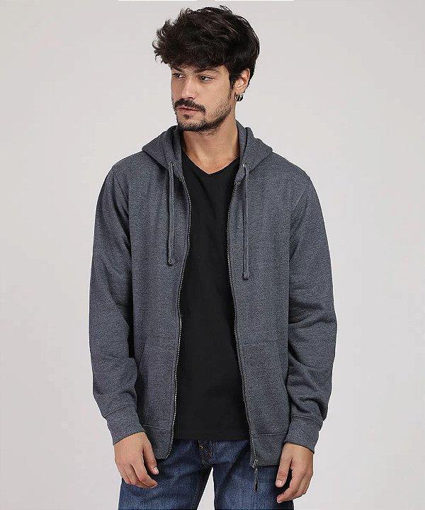 blusão masculino básico em moletom com capuz e bolso cinza mescla escuro