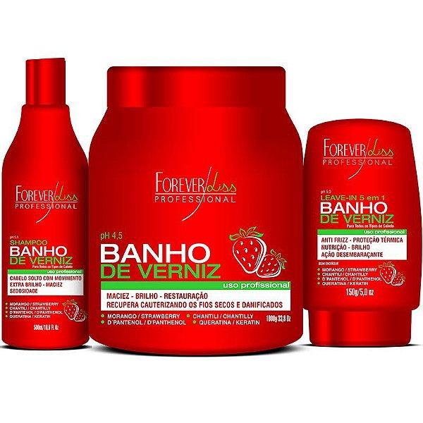 Kit Banho de Verniz Morango Profissional Forever Liss Brilho Extremo