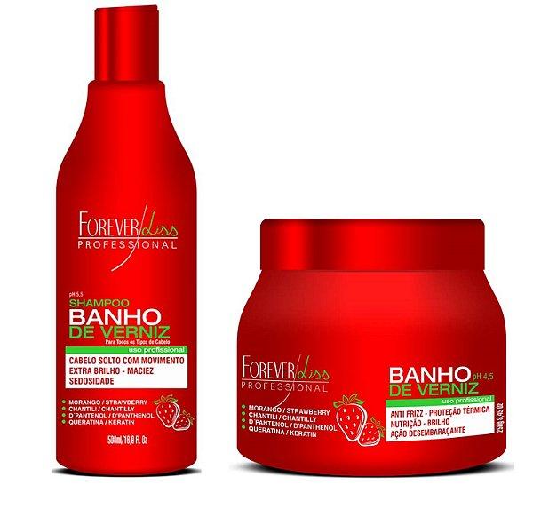 Kit Shampoo e Máscara Banho de verniz Morango Forever Liss