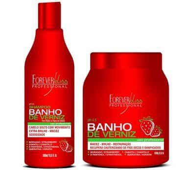 Kit Shampoo e Máscara Banho de verniz Morango Forever Liss Profissional