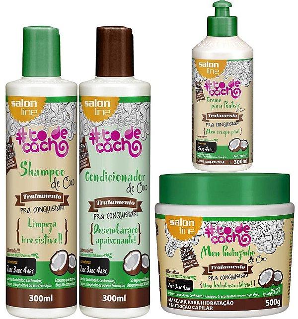 Kit de Coco #todecacho Salon Line com Creme para Pentear de Coco