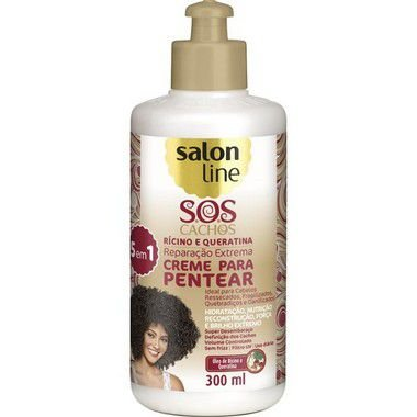 Creme de Pentear S.O.S Cachos Rícino e Queratina Salon Line 300ml