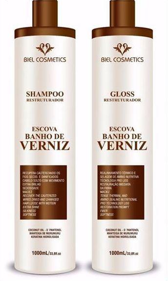 Escova Progressiva Banho de Verniz Biel Cosmetics 2x1 Litro