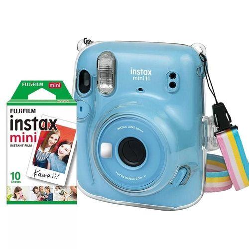 Kit Câmera Instax Mini 11 + Bolsa + 10 Filmes Fujifilm Azul
