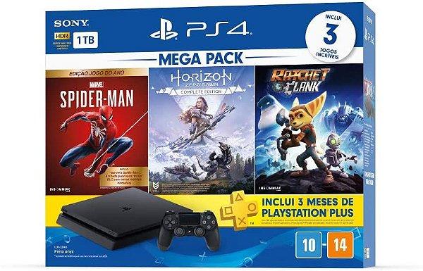 Console PlayStation 4 Bundle - Spider-Man Edition, Horizon Zero Dawn e Ratchet & Clan