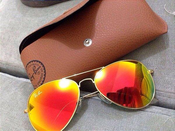 Óculos RB Aviador Vermelho Espelhado