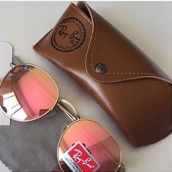 Óculos RB Round Rosa  Espelhado