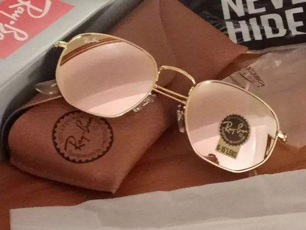 Óculos RB Hexagonal Rosa Espelhado