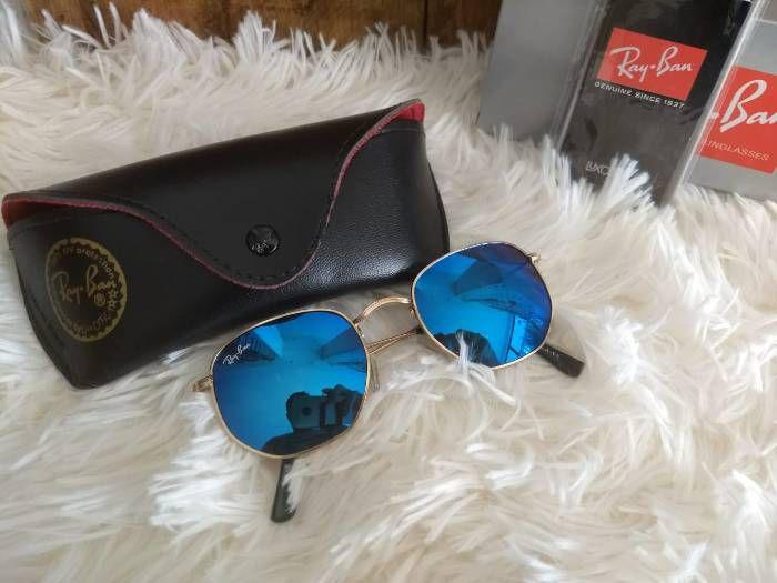 Óculos RB Hexagonal Azul Espelhado
