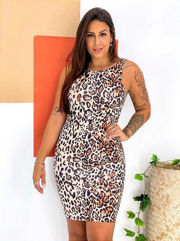 Vestido Decote nas Costas Animal Print