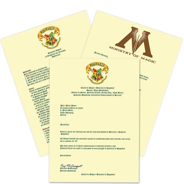 Carta de aceitação em Hogwarts (Acompanha ticket do expresso de Hogwarts)