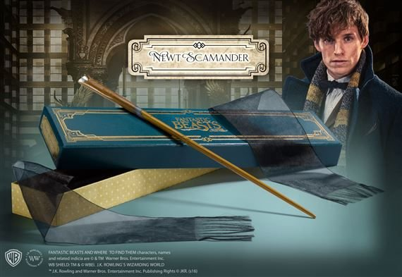 Réplica Oficial e Original Varinha Newt Scamander caixa luxo por Noble Collection