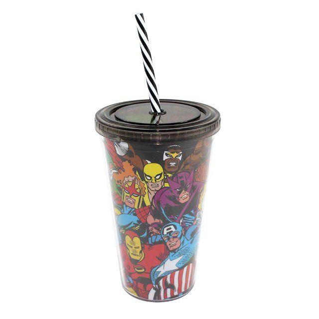Copo Canudo Quadrinhos Super Heróis Marvel