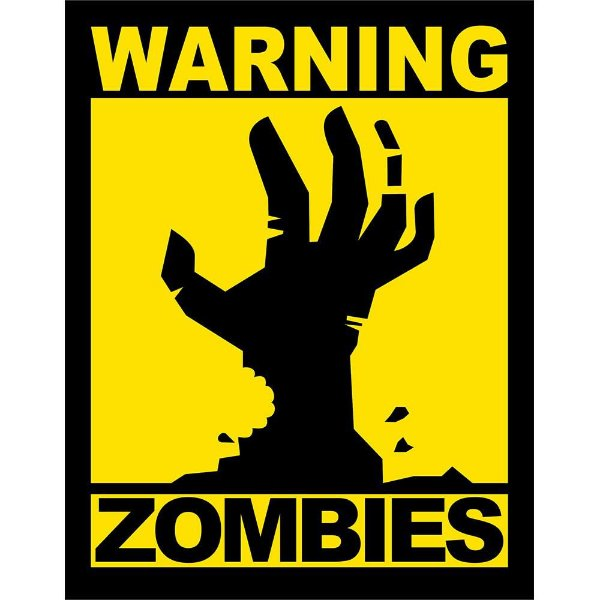 Placa Decorativa Warning Zombies