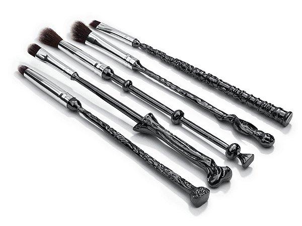 Conjunto com 5 pinceis para maquiagem tema varinhas Harry Potter