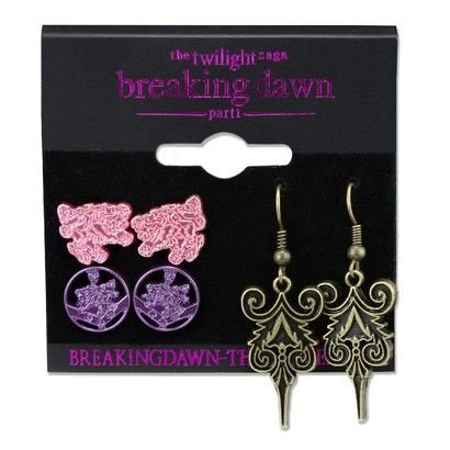 Conjunto com 3 brincos tema de Twilight Breakin Dawn (Crepúsculo Amanhecer) - Frete Gratuito