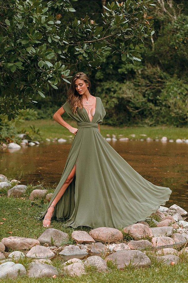Vestido Mil Chiffon Verde Oliva