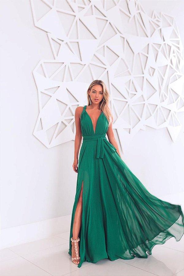 Vestido Mil Chiffon Verde Esmeralda