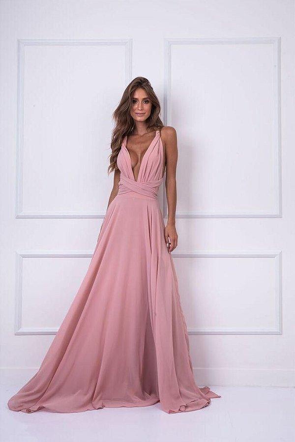 Vestido Mil Chiffon Rose