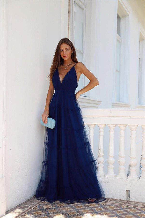 Vestido Gabriela Azul Marinho