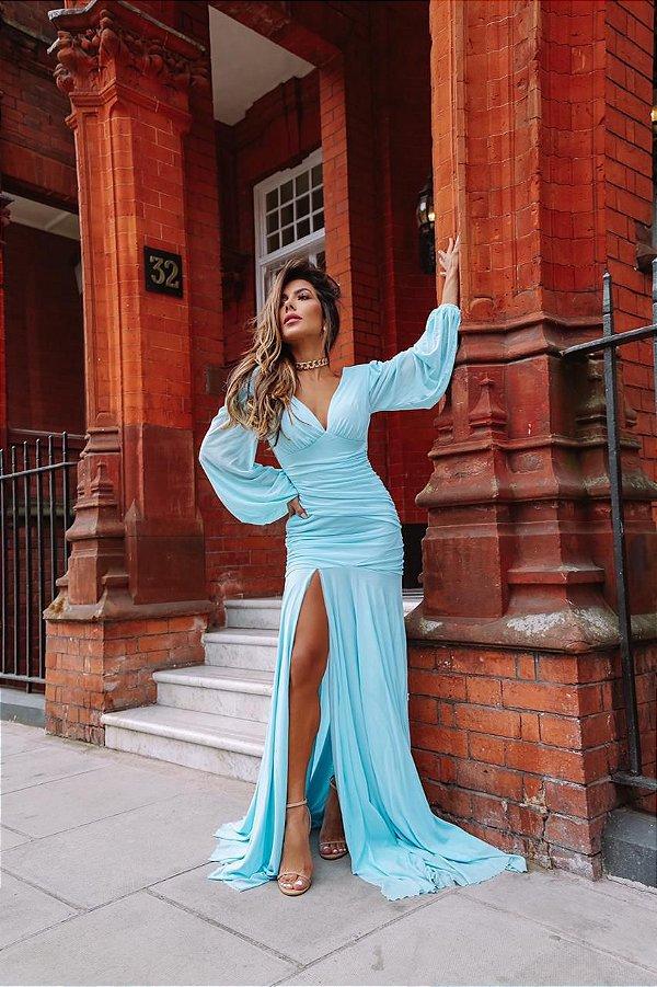 vestido mel manga longa azul
