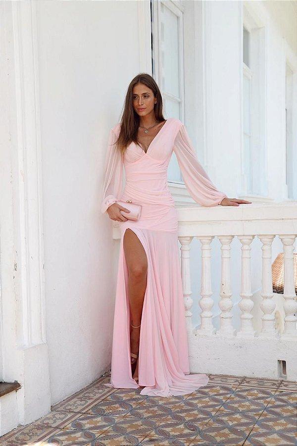 vestido mel manga longa rosa