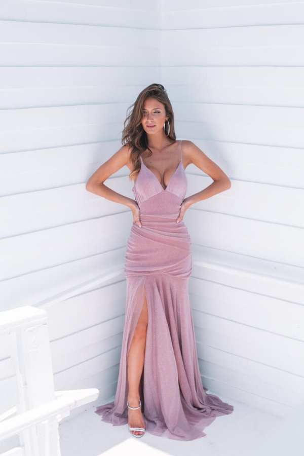 Vestido mel lurex rosa