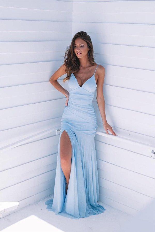 vestido mel lurex azul