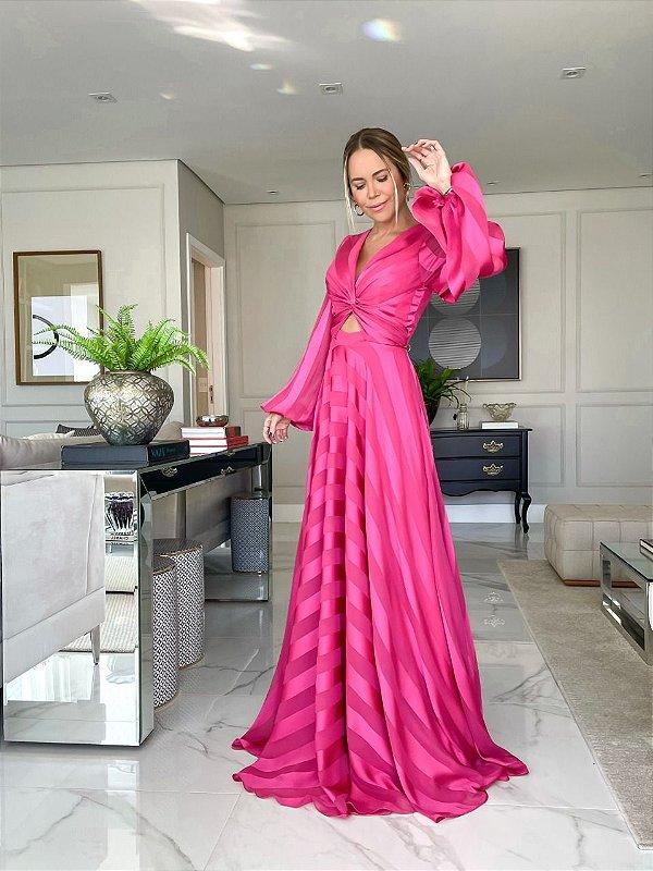 Vestido Listra Vazado Rosa Pink