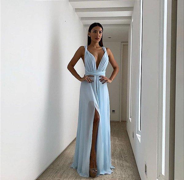 vestido mil chiffon azul