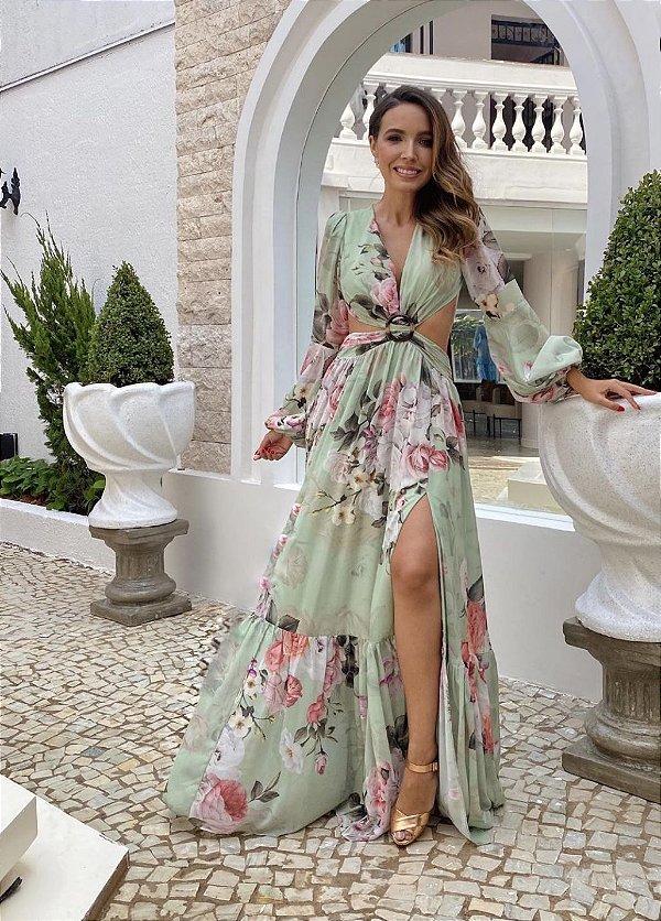 vestido floral fivela verde