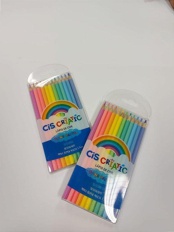 Lápis de cor pastel - 12 cores