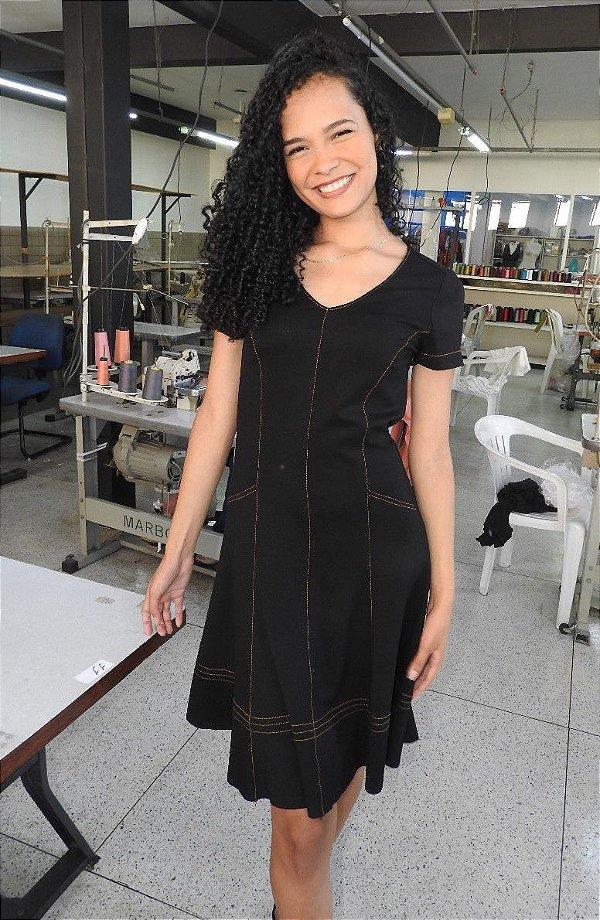 Vestido Secretário Pespontado Gardênia Ref.109341