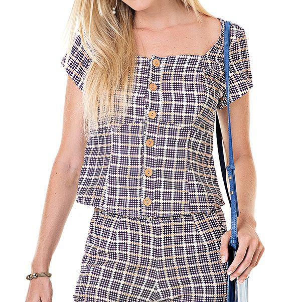 Blusa Quadriculada Alice - Ref.:021228