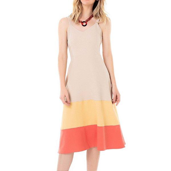 Vestido Midi Cavado Tricolor Florir - Ref.:100872