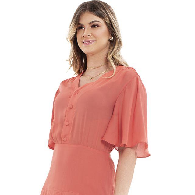 Vestido Midi Drapeado Brisa Coral - Ref.:107431