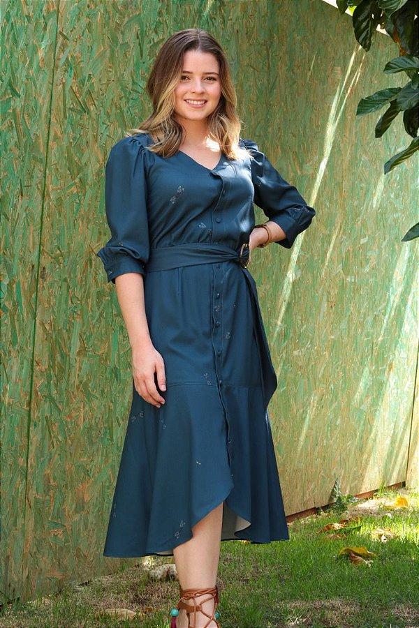 Vestido Midi Chemise Aura Azul Estampado - Ref.: 102911