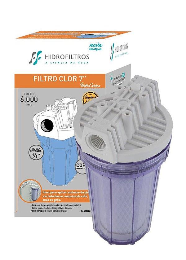 """Filtro declorador Clor 7 Polegadas Transparente - ½"""" - Hidro Filtros"""