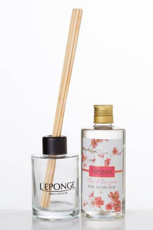 Vidro Leponge com Refil de Difusor Flor de Cerejeira
