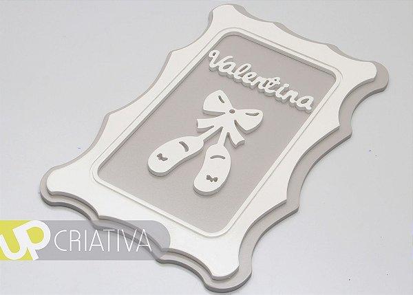 Quadro Porta Maternidade e Quarto de Bebê tema Bailarina Sapatilha com Nome Personalizado
