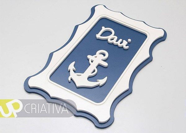 Quadro Porta Maternidade e Quarto de Bebê tema marinheiro com Nome Personalizado