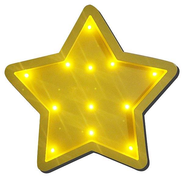 Luminoso Estrela MDF/Led Frontal para Quarto de Bebê