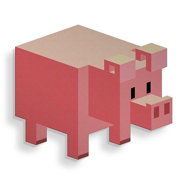 Placa Decorativa Pixel Porco