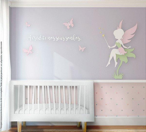 """Painel decorativo para quarto de bebê - Tema Fada """"Acredite em seus sonhos"""""""