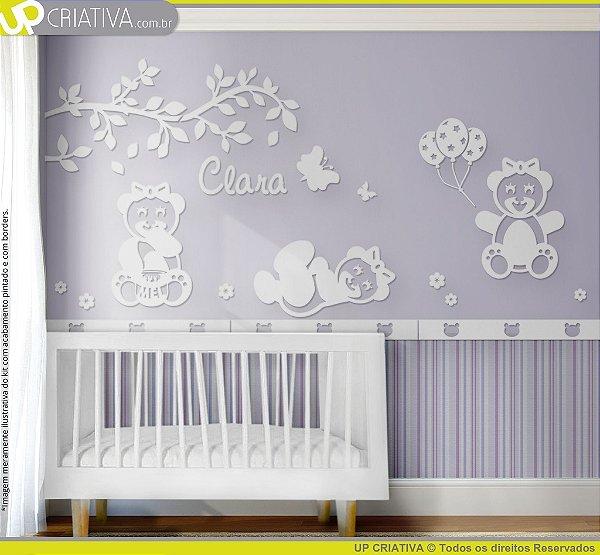 Painel decorativo para quarto de bebê -  Tema Ursas Brincalhonas MDF