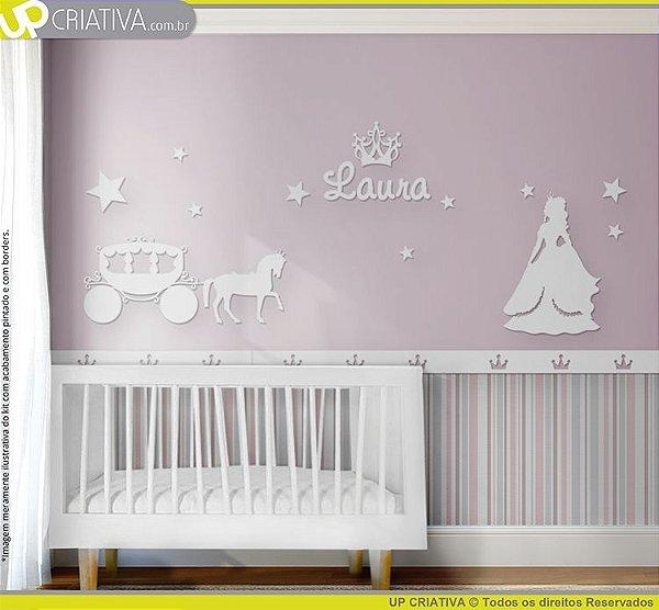 Painel decorativo para quarto de bebê - Tema Princesa MDF