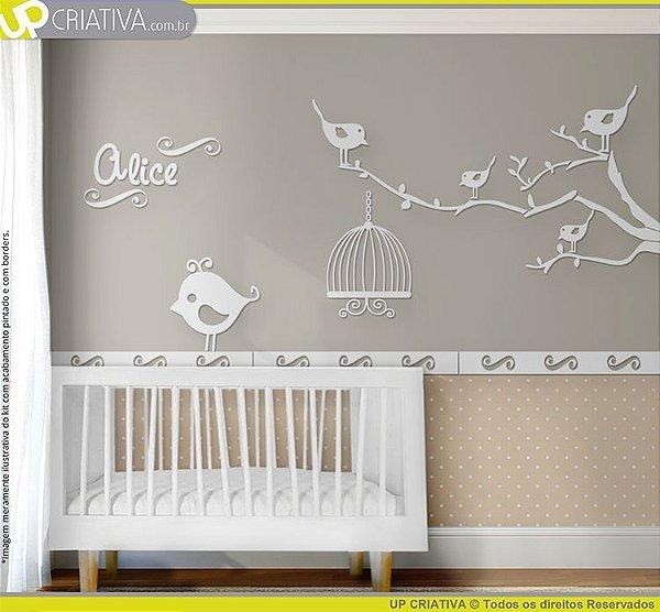 Painel decorativo para quarto de bebê - Tema Pássaros MDF