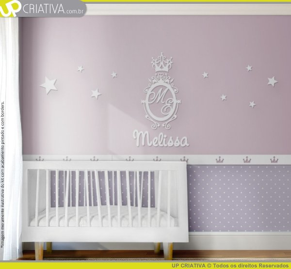 Painel decorativo para quarto de bebê - Tema Monograma MDF